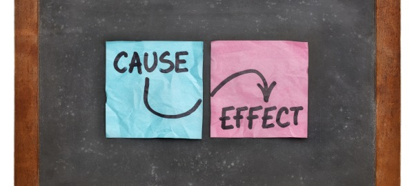 "photo of two sticky notes that say ""Cause - Effect"""