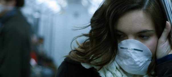 Woman with mask on during coronavirus outbreak